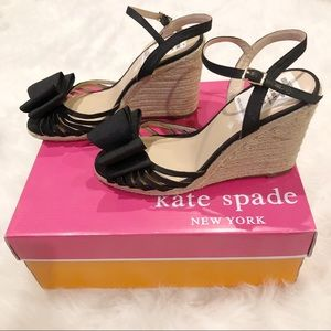 Kate Spade bow wedge heel sandals 8.5 with box